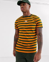Helly Hansen Yu Stripe Logo T Shirt In Khaki Orange Green