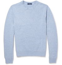 Faconnable Nubuck Elbow Patch Cashmere And Cotton Blend Sweater Blue