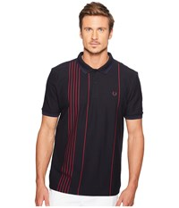 Fred Perry Vertical Stripe Pique Shirt Navy Men's Clothing