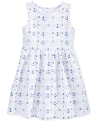 Maison Jules Little Girls' Anchor Print Fit And Flare Dress Only At Macy's Bright White