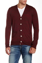 True Religion Space Dye Long Sleeve Button Down Wool Cardigan Red