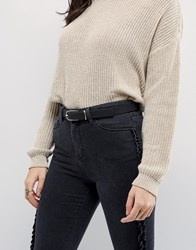 Asos Fine Oblong Clean Waist And Hip Belt In Water Based Pu Black