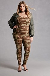 Forever 21 Plus Size Camo Jumpsuit Olive