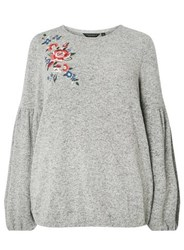 Dorothy Perkins Dp Curve Grey Floral Embroidered Bubble Jumper