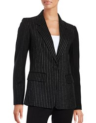 Dkny Pinstriped Wool Blend Blazer Black