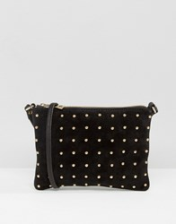 Asos Leather And Suede Pin Stud Cross Body Bag Black
