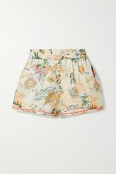 Zimmermann Kirra Printed Linen And Cotton Blend Shorts Off White