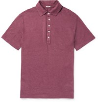 Massimo Alba Slim Fit Linen Polo Shirt Purple