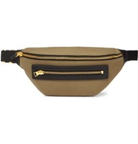 Tom Ford Leather Trimmed Canvas Belt Bag Army Green