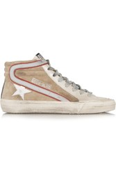 Golden Goose Deluxe Brand Slide Distressed Leather And Suede High Top Sneakers Silver