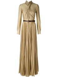 Dsquared2 Pleated Evening Gown Metallic