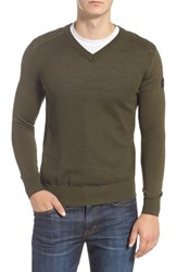 Canada Goose Mcleod V Neck Merino Wool Sweater Dark Sage