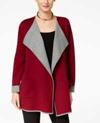 Alfani Colorblocked Open Front Cardigan Created For Macy's Malbec