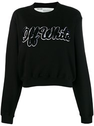 Off White Textured Logo Jumper Black
