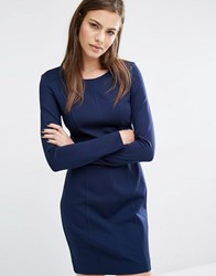 Boss Orange Aloka Panelled Bodycon Long Sleeve Dress Dark Blue Navy