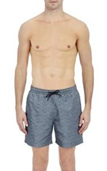 Theory Men's Wave Print Drawstring Swim Trunks Blue