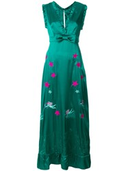 John Richmond Embroidered Ruffle Hem Maxi Dress Green