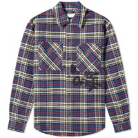 Off White Flannel Check Shirt Blue