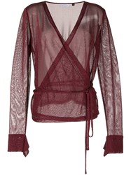 Kacey Devlin Formation Metallic Blouse Red