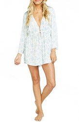 Show Me Your Mumu Women's 'Roxy' Plunging Tie Waist Romper Blue Port Flora Cloud
