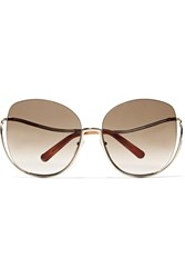 Chloe Milla Square Frame Gold Tone Sunglasses One Size