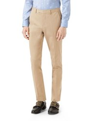 Gucci Bee Web Stretch Gabardine Pants Ivory Khaki