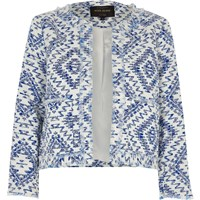 River Island Womens Blue Aztec Fringe Trophy Jacket