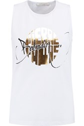 Balmain Printed Cotton Jersey Tank White