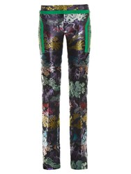 Marco De Vincenzo Slim Leg Jacquard Trousers Black Multi
