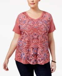 Style And Co Plus Size Paisley Print T Shirt Only At Macy's Lipstick