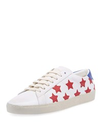 Saint Laurent Calfskin Leather Stars Low Top Sneaker White Pattern