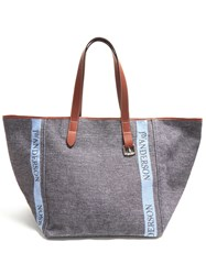 J.W.Anderson Belt Strap Leather Trimmed Tote Navy Multi