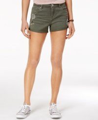Vanilla Star Juniors' Embroidered Denim Shorts Military Olive