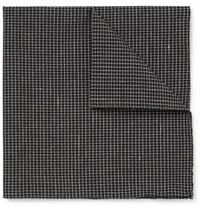Oliver Spencer Kersley Micro Checked Cotton And Linen Blend Pocket Square Black