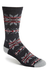 Woolrich 'Snowflake' Merino Wool Blend Socks Charcoal