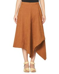 Stella Mccartney Asymmetric Faux Suede Midi Skirt Brown