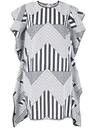 Msgm Geometric Print Dress White
