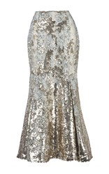 Emilia Wickstead Leroy Sequin Embroidered Skirt Gold