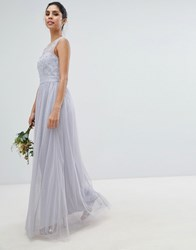 Little Mistress Tulle Maxi Dress With Embellished Pearl Detail Blue