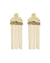 Armenta Old World Petite Stacked Bar Chain Earrings W Diamond Pave Yellow Black
