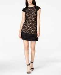 Jessica Simpson Cap Sleeve Tiered Lace Dress Black Tan