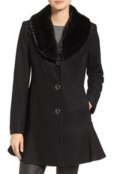 Kensie Women's Removable Faux Fur Collar Skirted Coat