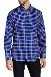 Tailorbyrd Navy Long Sleeve Plaid Woven Shirt Blue