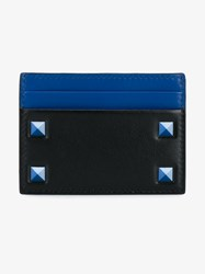 Valentino Studded Leather Cardholder Black Navy Blue