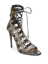 Aquazzura Amazon Striped Leather Lace Up Sandals Black White