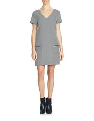 1.State Herringbone Shift Dress Grey