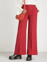 See By Chloe High Rise Flared Cotton Blend Trousers Dusky Red