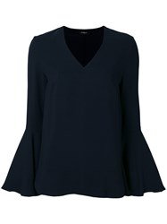 Les Copains Long Sleeve Flared Top Blue