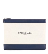 Balenciaga Canvas And Leather Clutch White
