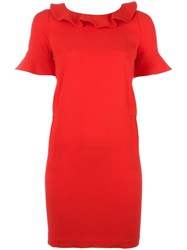Twin Set Ruffle Trim Shift Dress Red